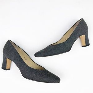 Etienne Aigner Taylor Grey Fabric Pumps Heels
